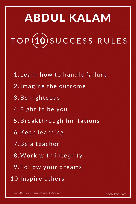 Abdul Kalam Success Rules