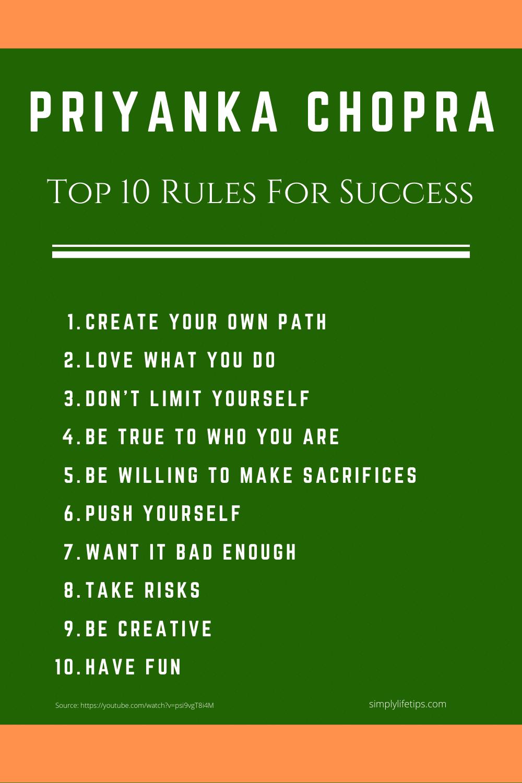 Top 10 Success Rules - Priyanka Chopra