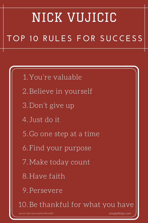 Nick Vujicic - Top 10 Rules For Success