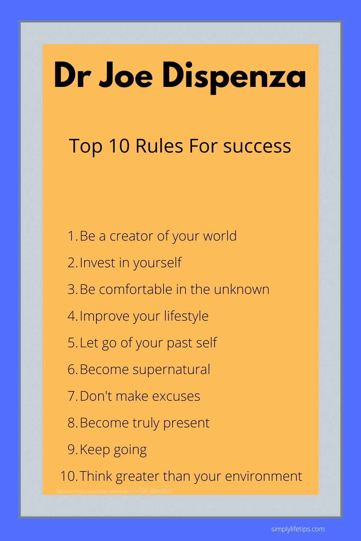 Dr Joe Dispenza  Top 10 Rules for success