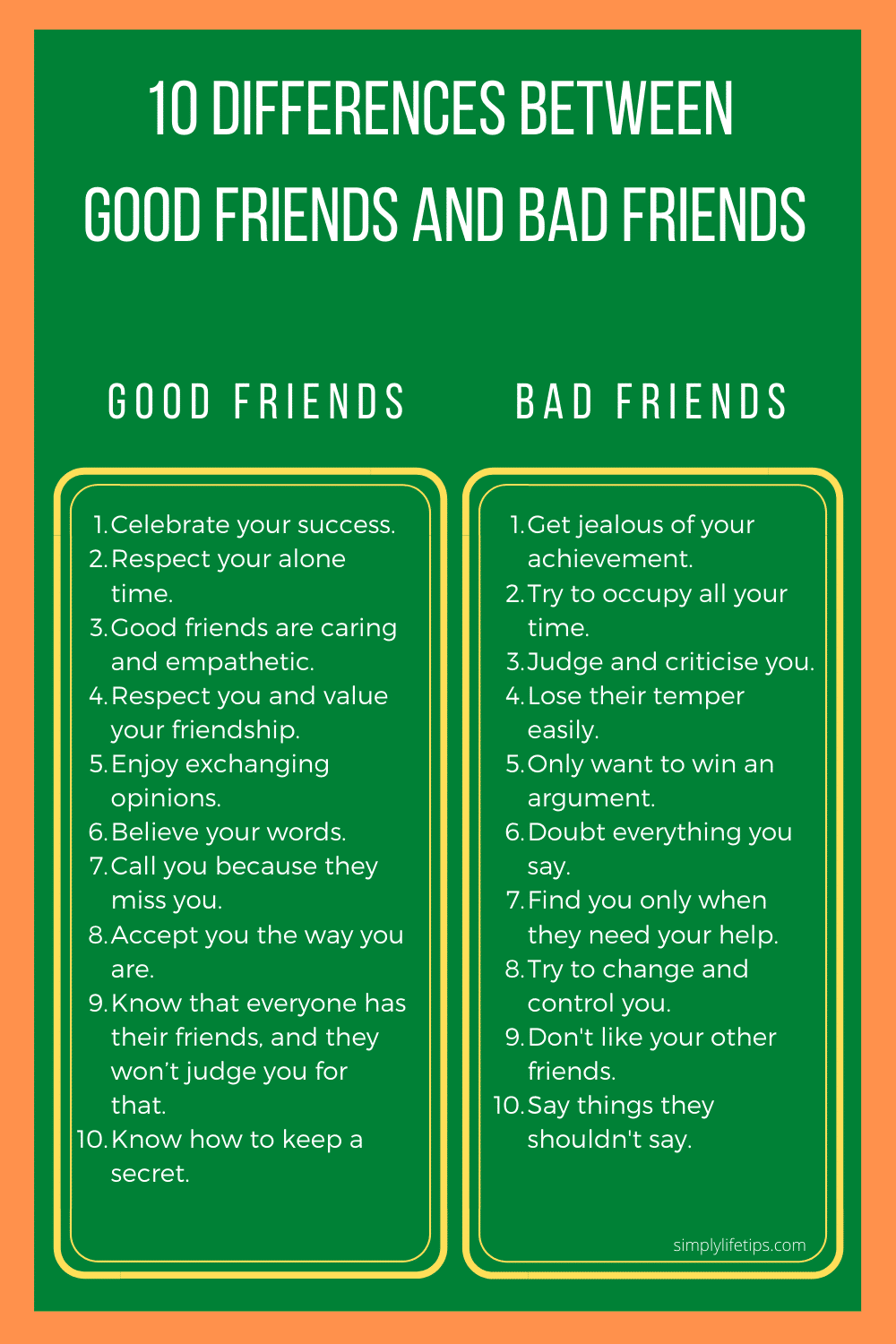 Differences Between Good Friends and Bad Friends