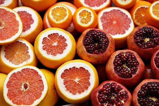 citrus fruits oranges pomegranates