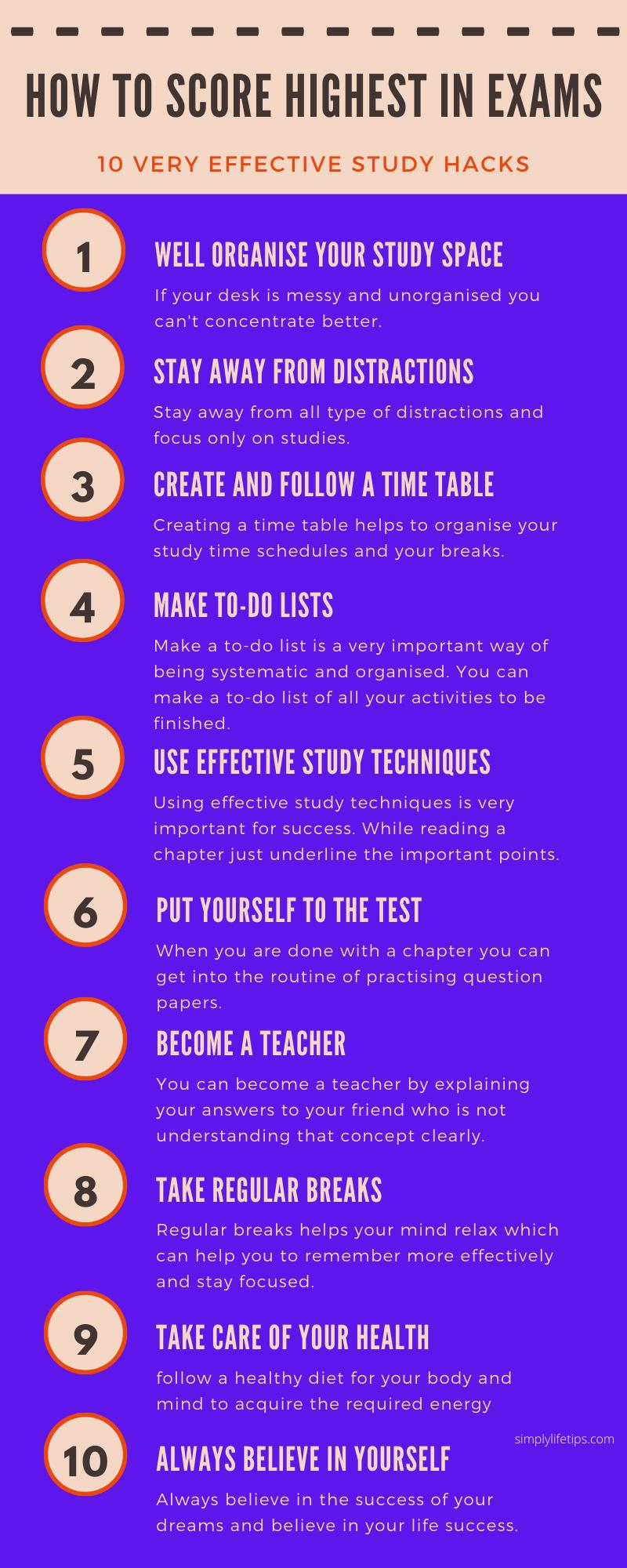 10 Study Hacks Infographic