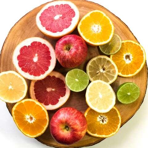 Healthy diet citrus fruits lemon apples