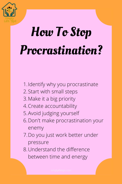 Ways To Stop Procrastination